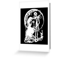 Nightmare Before Christmas - White On Black Greeting Card