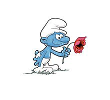 Smurf Holding Flower Photographic Print