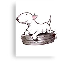 Bull Terrier On Board Funny Canvas Print