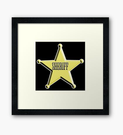 SHERIFF, Badge, The Law, Lawman, Cowboy, Wild West, Framed Print