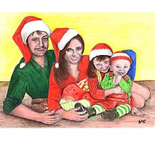 Caskett family at Christmas Photographic Print