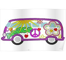 Hippie Bus 60's style Poster