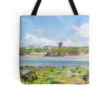 seaweed covered rocks with castle and beach Tote Bag