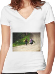 Bringing In The Sheaves Women's Fitted V-Neck T-Shirt