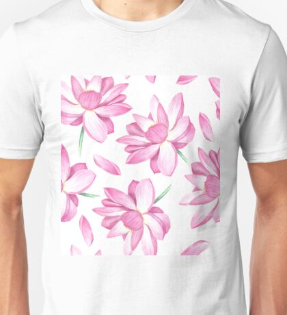 Watercolor lotus pattern Unisex T-Shirt
