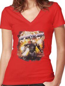 Protocop - Kiss Kiss Bang Bang Women's Fitted V-Neck T-Shirt