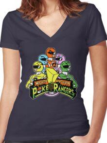 Poke Rangers Women's Fitted V-Neck T-Shirt