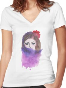 Beautiful girl Women's Fitted V-Neck T-Shirt
