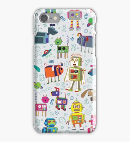 Robots in Space - grey iPhone Case/Skin