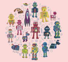 Robots in Space - grey Baby Tee