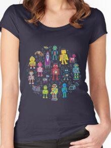Robots in Space - grey Women's Fitted Scoop T-Shirt
