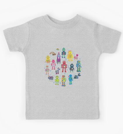 Robots in Space - grey Kids Tee