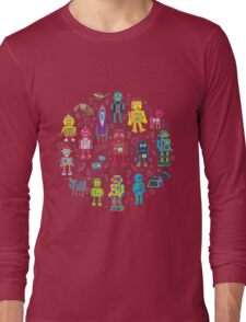 Robots in Space - grey Long Sleeve T-Shirt