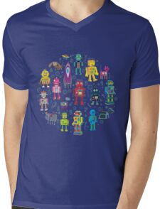 Robots in Space - grey Mens V-Neck T-Shirt