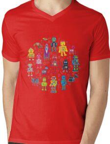 Robots in Space - grey Mens V-Neck T-Shirt