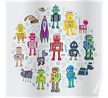 Robots in Space - grey Poster