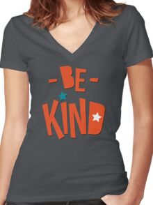 Be Kind Be Cool - Cute Nursery Typography Design T shirt for Kids and Adults Women's Fitted V-Neck T-Shirt