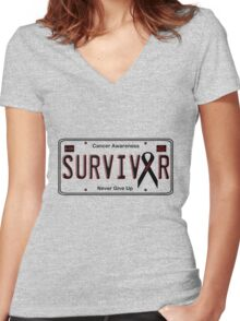 Cancer Survivor License Plate Shirt (Pink) Women's Fitted V-Neck T-Shirt