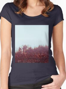 Misty Morning, Autumn Forest. Women's Fitted Scoop T-Shirt