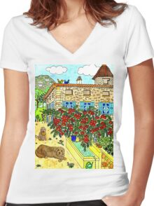 Beautiful Farm of Brigaudière Women's Fitted V-Neck T-Shirt