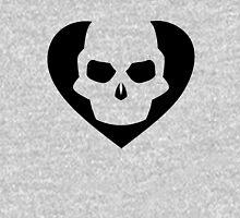 Skull Heart Black Womens Fitted T-Shirt