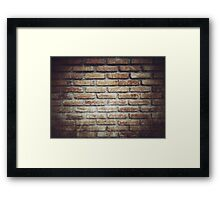 Old grunge block brick wall background with retro effect filter - texture Framed Print