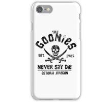 The Goonies - Naver Say Die - Black on White iPhone Case/Skin