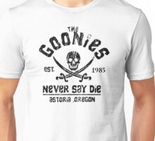 The Goonies - Naver Say Die - Black on White Unisex T-Shirt