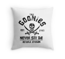The Goonies - Naver Say Die - Black on White Throw Pillow