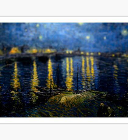 Van Gogh Starry Night Over Rhode Tilt Shifted Sticker