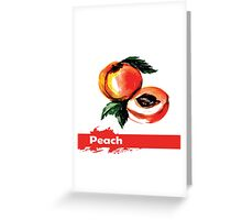 fruit peach,Hand drawn watercolor  Greeting Card