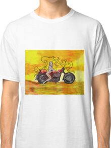 Pinup girl biker with Tattoo sign Classic T-Shirt