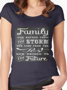 Family,our refuge from the storm,our link from the past,our bridge to the future.black board,white,chalk,text Women's Fitted Scoop T-Shirt