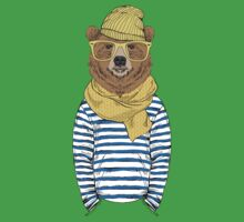 Funny bear dressed up in frock One Piece - Short Sleeve