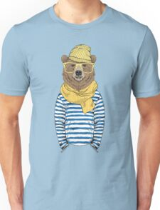 Funny bear dressed up in frock Unisex T-Shirt