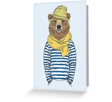 Funny bear dressed up in frock Greeting Card