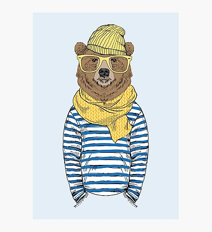 Funny bear dressed up in frock Photographic Print