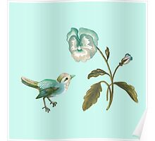 Songbird & Pansy in Seafoam Poster