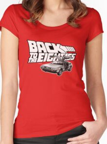 Delorean Back to the Future 80s Style Women's Fitted Scoop T-Shirt