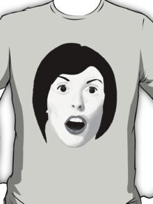 Portrait of a Woman's Surprised Face in Black and White T-Shirt