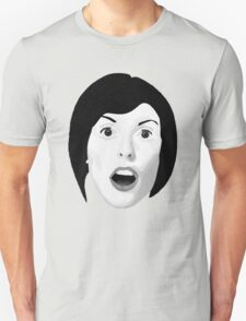 Portrait of a Woman's Surprised Face in Black and White Unisex T-Shirt