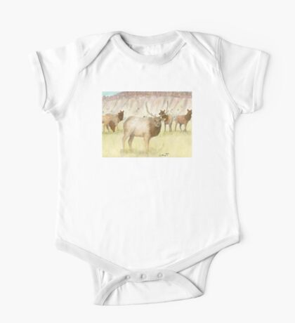 Elk Herd Bull Cows Wildlife Animal Cathy Peek Art One Piece - Short Sleeve