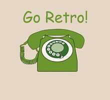 Retro Style Green Dial Phone, with the Words 'Go Retro!' Womens Fitted T-Shirt