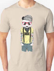 Tattooed panda hipster boy Unisex T-Shirt
