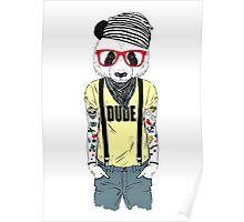 Tattooed panda hipster boy Poster