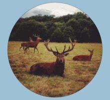 Red Deer Round Sticker One Piece - Short Sleeve