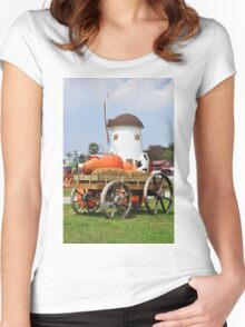 Vintage windmil in Cha Am,Thailand Women's Fitted Scoop T-Shirt