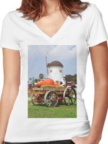 Vintage windmil in Cha Am,Thailand Women's Fitted V-Neck T-Shirt