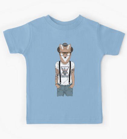 Fox hipster with tattoo Kids Tee