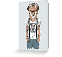 Fox hipster with tattoo Greeting Card